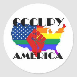 Occupy America - LGBTQ Classic Round Sticker