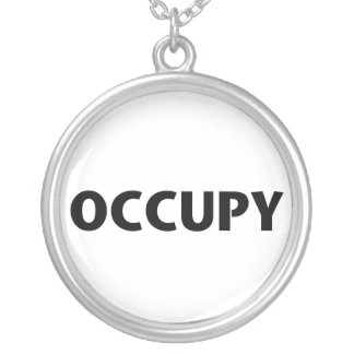 Occupy (Black on White) Silver Plated Necklace