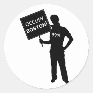 Occupy Boston Sign Classic Round Sticker