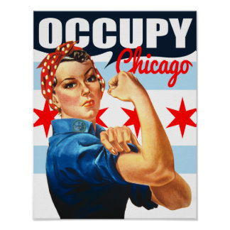 Occupy Chicago Flag Rosie the Riveter Poster