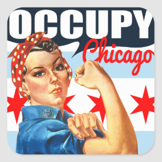 Occupy Chicago Rosie the Riveter Stickers