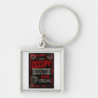 Occupy Houston OWS protest 99 percent strong Keychain