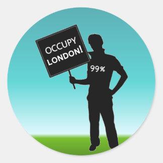 Occupy London Sign Classic Round Sticker