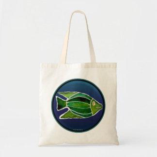 """Occupy Planet Earth """"Batik Green Fish"""" Tote"""