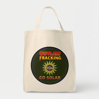 """Occupy Planet Earth """"Go Solar - Outlaw Frack"""" Tote"""