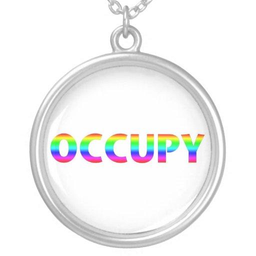Occupy Rainbow Round Pendant Necklace