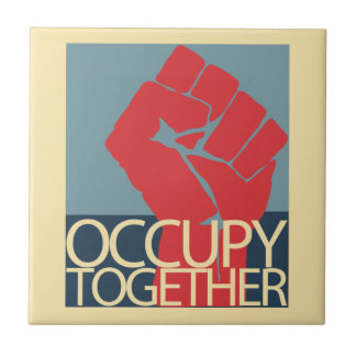Occupy Together Protest Art Occupy Wall Street Small Square Tile