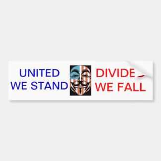 OCCUPY, UNITED WE STAND, DIVIDED... CAR BUMPER STICKER