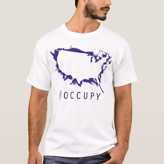 Occupy USA stencil on blue T-Shirt