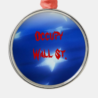 Occupy Wall St. Round Metal Christmas Ornament
