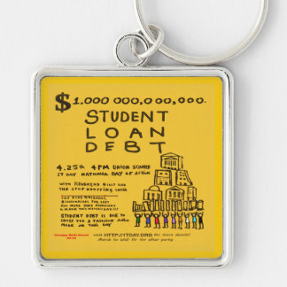 Occupy Wall St Student Loan Debt Protest Flyer Keychain