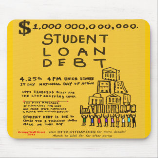 Occupy Wall St Student Loan Debt Protest Flyer Mouse Pad