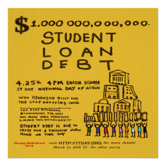 Occupy Wall St Student Loan Flyer Poster April 201