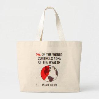 Occupy Wall Street - 1% World Controls 40% Wealth Jumbo Tote Bag