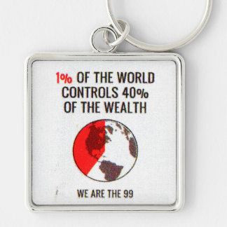 Occupy Wall Street - 1% World Controls 40% Wealth Keychain