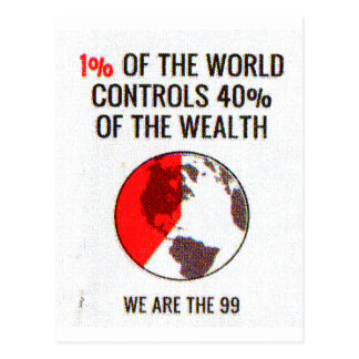 Occupy Wall Street - 1% World Controls 40% Wealth Postcard