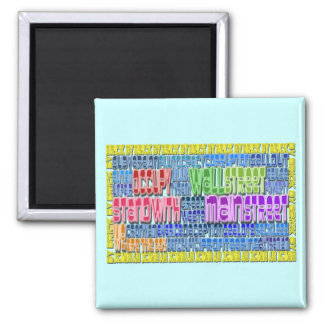 Occupy Wall Street FIGHT Greed Corruption Design 2 Inch Square Magnet
