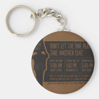 Occupy Wall Street Flyer-Take Times Square Brown Keychain