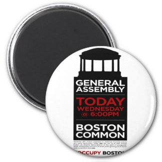 Occupy Wall Street General Assembly BOSTON 2 Inch Round Magnet