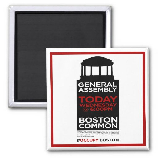 Occupy Wall Street General Assembly BOSTON 2 Inch Square Magnet