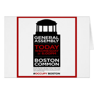 Occupy Wall Street General Assembly BOSTON Greeting Card