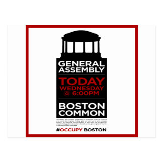 Occupy Wall Street General Assembly BOSTON Postcard
