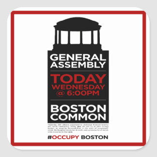 Occupy Wall Street General Assembly BOSTON Square Sticker