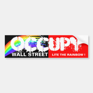 OCCUPY WALL STREET LITE THE RAINBOW ! BUMPER STICKERS