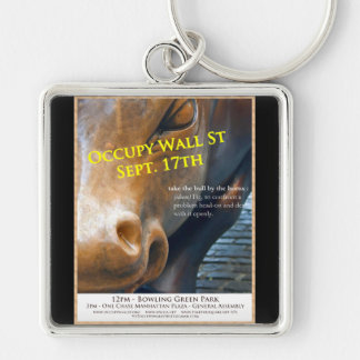 Occupy Wall Street Original Flyer Silver-Colored Square Keychain