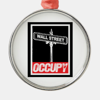 OCCUPY WALL STREET -.png Round Metal Christmas Ornament