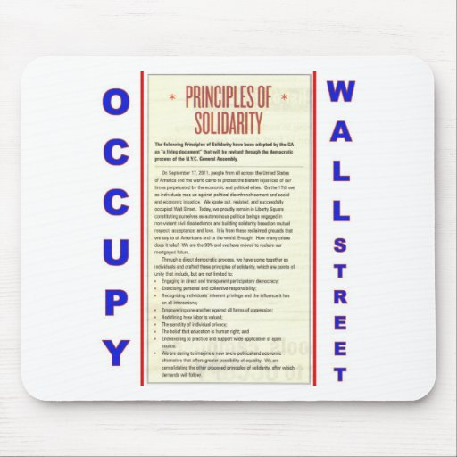 Occupy Wall Street Principles of Solidarity Mouse Pad