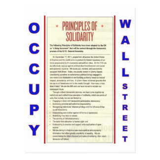 Occupy Wall Street Principles of Solidarity Postcard