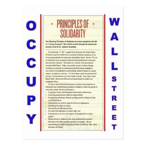Occupy Wall Street Principles of Solidarity Post Card
