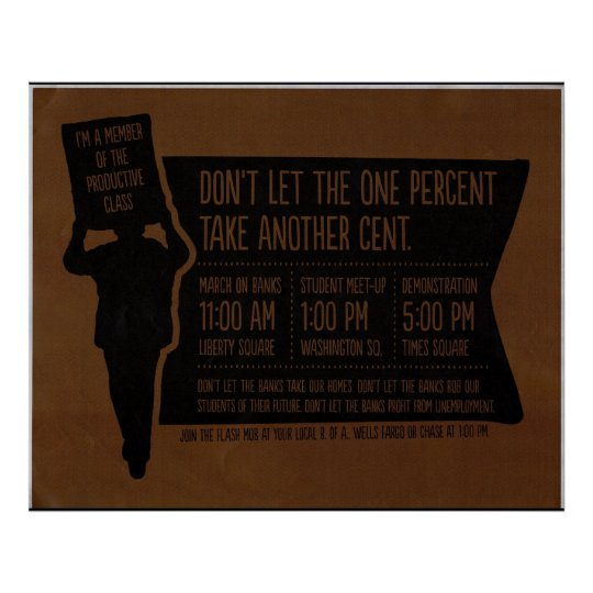 Occupy Wall Street Protest Banks Genuine Flyer Can Poster
