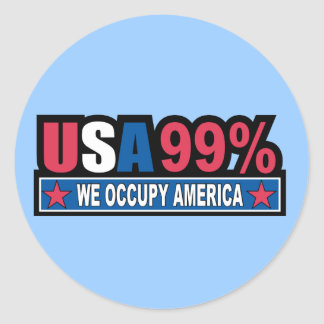 Occupy Wall Street ... We Are The 99% Percent Classic Round Sticker