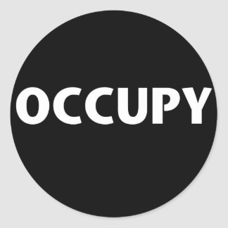 Occupy (White on Black) Classic Round Sticker
