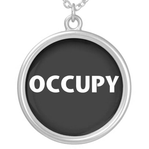 Occupy (White on Black) Round Pendant Necklace