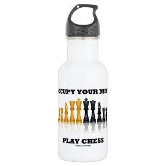 Occupy Your Mind Play Chess (Reflective Chess Set) 18oz Water Bottle