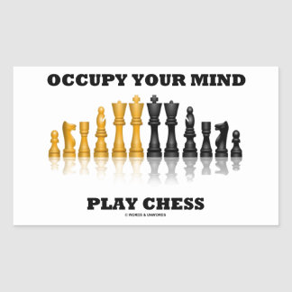 Occupy Your Mind Play Chess (Reflective Chess Set) Rectangular Sticker