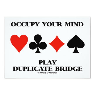 Occupy Your Mind Play Duplicate Bridge Card Suits