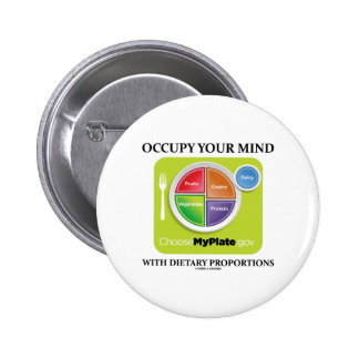Occupy Your Mind With Dietary Proportions MyPlate Pinback Buttons