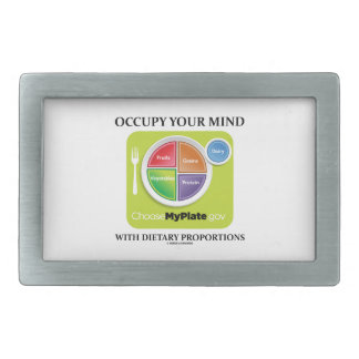 Occupy Your Mind With Dietary Proportions MyPlate Rectangular Belt Buckle