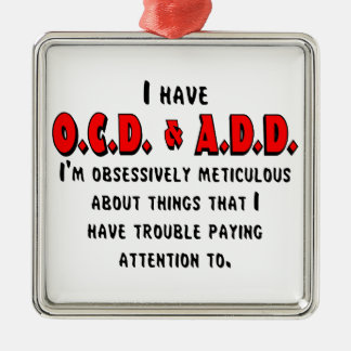 OCD-ADD Black/Red Metal Ornament