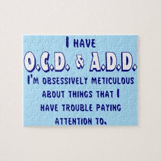 OCD & ADD Blue & White Jigsaw Puzzle