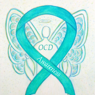 Ocd Awareness Ribbon Teal Guardian Angel Art Pins