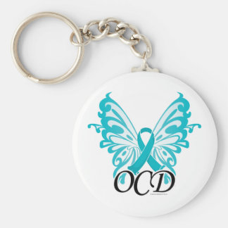 OCD Butterfly Ribbon Basic Round Button Keychain