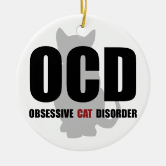 OCD Cat Ceramic Ornament