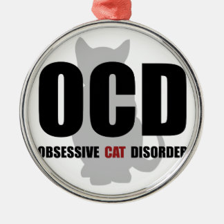 OCD Cat Metal Ornament