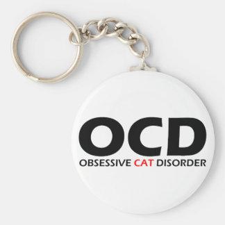 OCD - Desorden obsesivo del gato Llavero Redondo Tipo Pin