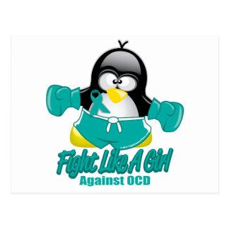 OCD Fighting Penguin Post Card